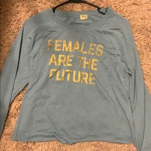 Blue with gold lettering long sleeve tee
